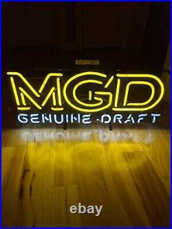 Miller MGD Genuine Draft Beer Bar Neon Light Sign 24x12 UL Vintage