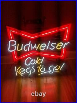 NEW NOS Budweiser Cold Kegs To Go Neon Beer Sign USA BOWTIE 25x20 VTG 1996