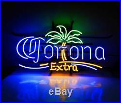 Neon Light Corona Palm Tree Extra Vintage Real Glass Display Lamp Beer Bar Sign