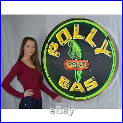 New Gas Polly Business Art Deco Marquee Vintage Light Neon Sign 36 by 36 by 6