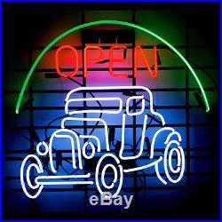 New Hot Rod Garage Open Vintage Neon Light Sign 20x16