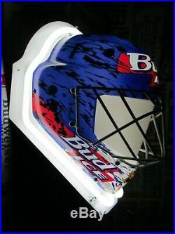 New Vtg 1995 Budweiser Bud Ice Beer Neon Hockey Mask In Motion Bar Sign Light A+