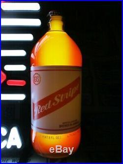 New Vtg 2016 Red Stripe Lager Beer 3-d Bottle Arrow Led Neon Bar Light Pub Sign