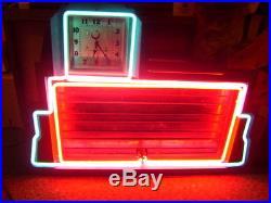OLD VINTAGE ORIGINAL 1930's NEON CLOCK & NEON SIGN