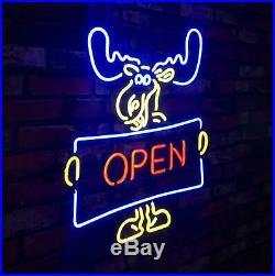 OPEN Deer Vintage Beer Bar Pub Shop Canteen Decor Neon Sign Light Lamp LED