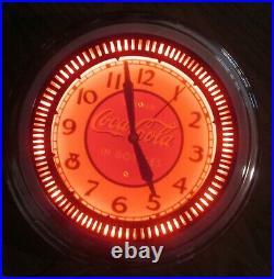 ORIGINAL VINTAGE COCA COLA Neon Clock SPINNER Soda Clock Advertising. Sign