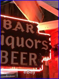ORIGINAL Vintage BAR LIQUORS BEER Sign DOUBLE SIDED PORCELAIN NEON Gas Oil OLD