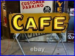 ORIGINAL Vintage CAFE Double Sided NEON SIGN Antique PATINA Mancave Restaurant