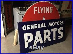 ORIGINAL Vintage GENERAL MOTORS GM PARTS Dealership PORCELAIN NEON Sign Gas Oil
