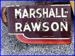 ORIGINAL Vintage MARSHALL RAWSON Old PORCELAIN NEON SIGN Early Shoe Store OLD