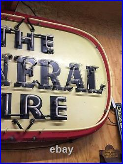 ORIGINAL Vintage THE GENERAL TIRE Sign w NEON Gas Oil Garage Station Mancave OLD