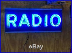 ORIGINAL Vintage Unique RADIO Sign NEON Wall DeCor Hotel OLD Broadcast PATINA