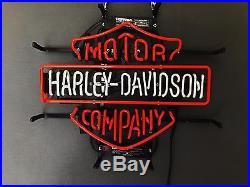 Official Harley Davidson Real Glass Neon Light Sign Vintage Motorcycle Garage UK