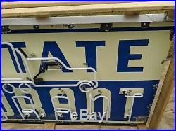 Old Original 1950's Interstate Restaurant Vintage Neon Porcelain Sign Vintage