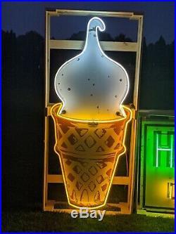Old Original 1950's Porcelain Neon Ice Cream Cone Neon Porcelain Sign Vintage