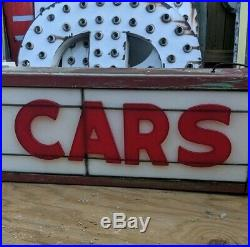 Old Original 50's Roadside Marquee Welcome or Used Cars Vintage Neon Sign