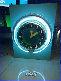 Old Vintage Neon Glo Dial Advertising 22 Inch Wall Clock Electric Sign RARE