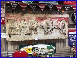 Old Vintage Original Metal 1940's or 50's Bar B Q Neon sign