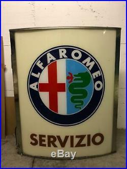 Original ALFA ROMEO Lighted Sign Neon Service Vintage 1970s Dealership NOS MINT