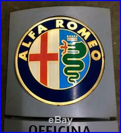 Original ALFA ROMEO Lighted Sign Neon Service Vintage 1980s Dealership Logo XXL