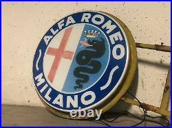 Original ALFA ROMEO MILANO Lighted Sign Service Vintage 1950s Dealer Neon Double