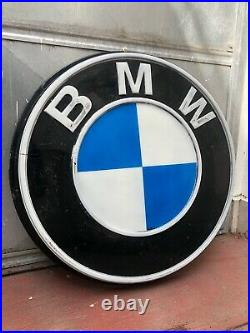 Original BMW Sign Service Vintage 1960's Dealership Logo Neon Lighted Factory