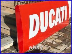 Original Huge DUCATI Sign Service Vintage Dealership Neon Lighted Factory Logo
