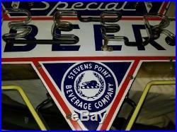 Original STEVENS POINT SPECIAL BEER Porcelain Working Neon Vintage Sign NICE