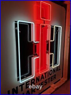 Original Set of 2 Vintage International Harvester Porcelain Neon Signs Walker IH