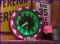 Original Vintage Aztec Neon Clock Cleveland AnTiQue Old WORKS! Gas Oil Sign