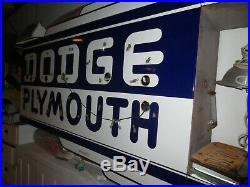 Original Vintage Dodge Plymouth Neon Dealership Porcelain Sign Bull Nose