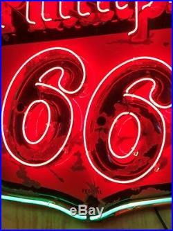 PATINA Vintage ORIGINAL Federal PHILLIPS 66 NEON PORCELAIN 48 Sign Gas Oil OLD