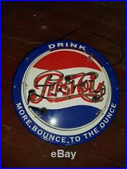 Pepsi cola Real Glass Bar Beer Neon Light Sign vintage 24x24 AUTHENTIC RARE