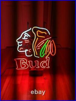 RARE BUDWEISER BEER CHICAGO BLACKHAWKS BEER NEON BAR SIGN VINTAGE USA 26x19