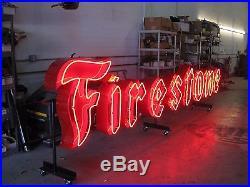 RARE FIRESTONE 1950'S Vintage Restored Neon Sign porcelin