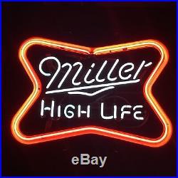 RARE MILLER HIGH LIFE AUTHENTIC Neon Sign Beer Bar Pub Light VINTAGE BOWTIE