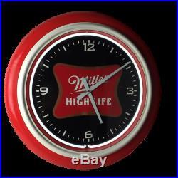 RARE Miller High Life Beer Neon Light Up Bar Clock Sign Game Room VINTAGE