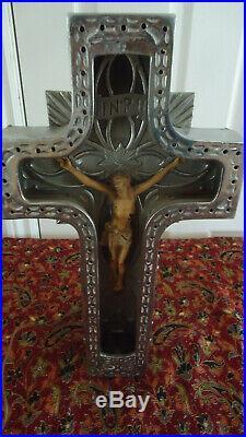 RARE VINTAGE 30s NEON JESUS CRUCIFIX FUNERAL CROSS SIGN CHURCH Art Deco