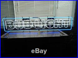 RARE VINTAGE BUD LIGHT NEON LIGHT UP SIGNTAVERNBAR 75 x 16MAN CAVEHANGING
