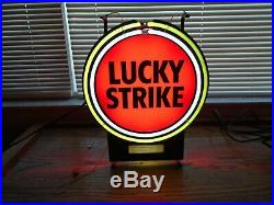 RARE VINTAGE LUCKY STRIKE NEON SIGNLIGHT UP 16-1/2 x 13-1/2BEAUTIFUL