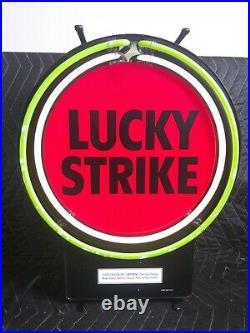 RARE VINTAGE LUCKY STRIKE NEON SIGN-LIGHT UP 16-1/2 x 13-1/2