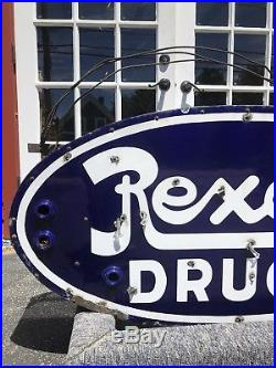 RARE Vintage 30s Original REXALL DRUGS Porcelain Drug Store Neon Sign