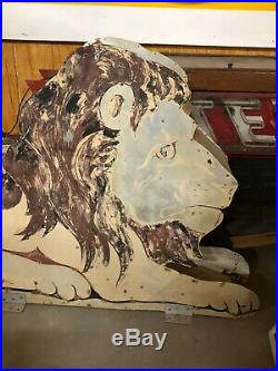 RARE Vintage ORIGINAL Double Sided NEON LION Sign Circus OLD ADVERTISING Gas Oil