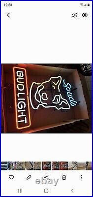 Rare 1987 BUD LIGHT BEER SPUDS MACKENZIE Bull Terrier Neon Lighted Sign vintage
