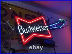 Rare BUDWEISER BOWTIE Electric GUITAR NEON SIGN Vintage 5 COLORS Bar Lighting