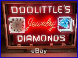 Rare Early Porcelain NEON DOOLITTLE'S DIAMONDS Sign w Clock Vintage Old Antique