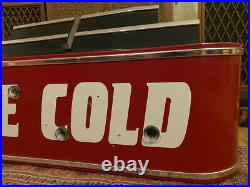 Rare Ice Cold Red Metal Marquee Sign Neon Drink Bar Coke Vintage Deco outkast