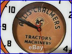 Rare Vintage Allis Chalmers Tractors Machinery Neon Octagon Clock Sign