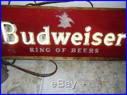 Rare Vintage Framed Budweiser King Of Beers White Neon Advertising Sign Working