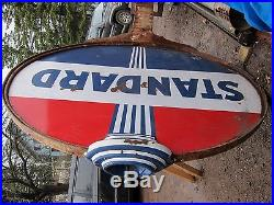 Rare Vintage Lighted Porcelain Standard Sign With Pole Non Neon Gas